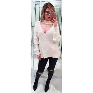 Zara Cream Chunky Choker Sweater